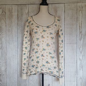 Free People Floral Long Waffle Thermal Size M